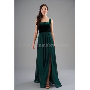 B2 Jasmine Green Velvet Bridesmaids Dress Size 6